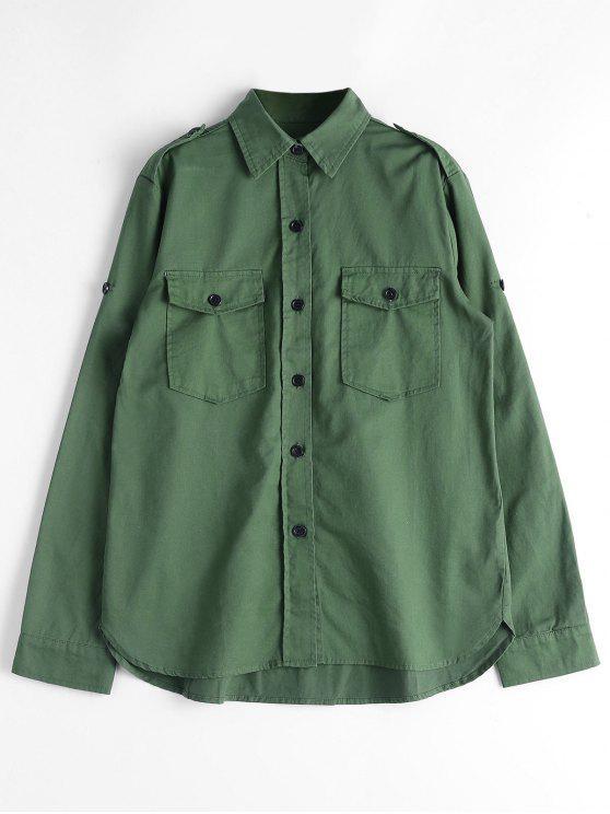 Chemise boutonnée avec poches à rabat - armée verte L