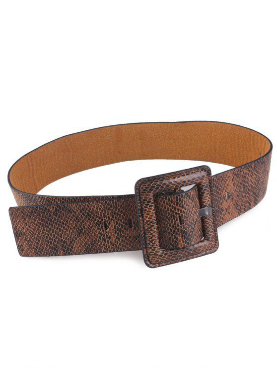 Coiffe en peau de serpent Rectangle Pin Boucle Ceinture - BRUN
