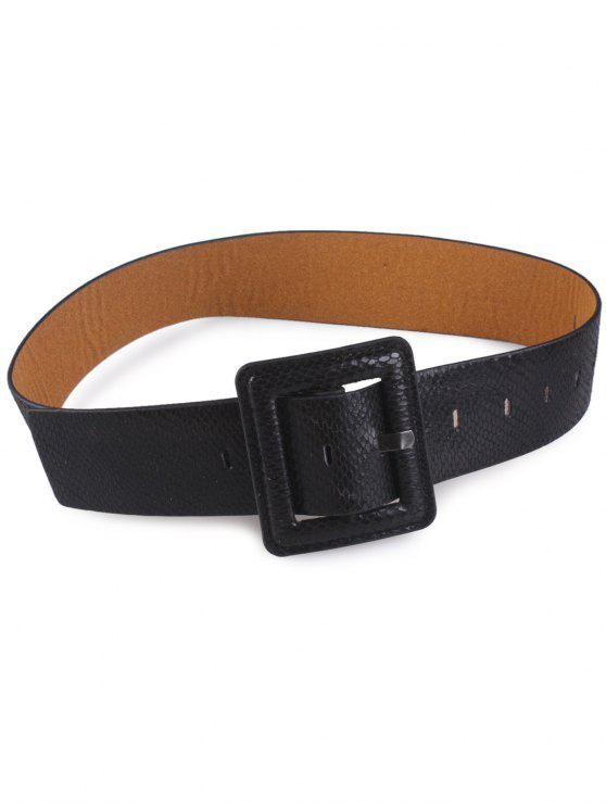 outfit Snakeskin Design Rectangle Pin Buckle Belt - BLACK