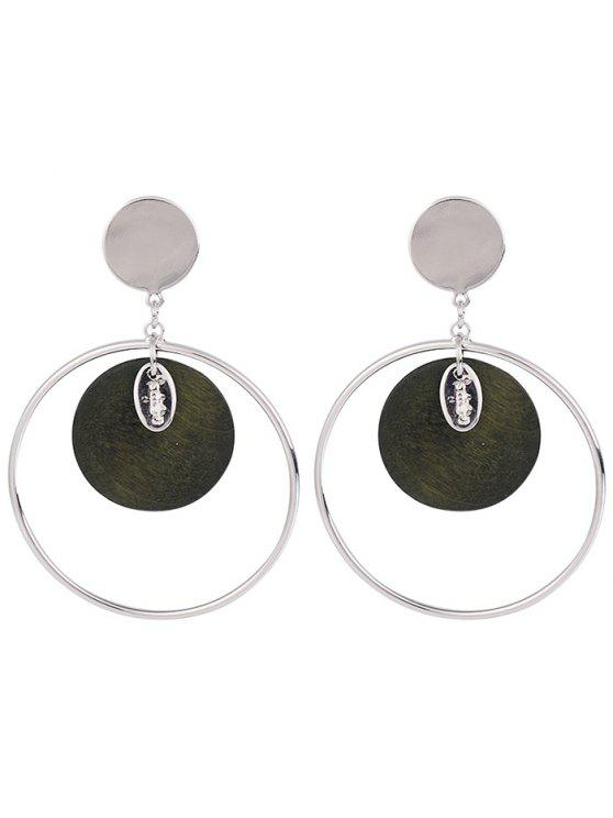 Metal Circle Round Piece Drop Earrings - Vert Armée