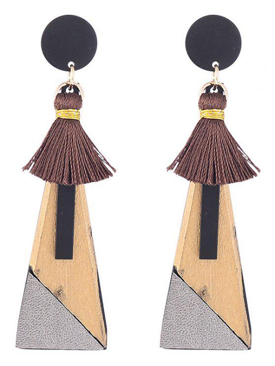 trendy Tassels Triangle Pendant Drop Earrings - GOLDEN
