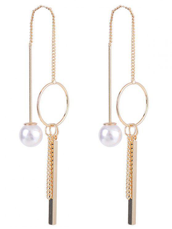 Faux Pearl Metal Circle Stick Drop Earrings - Dourado