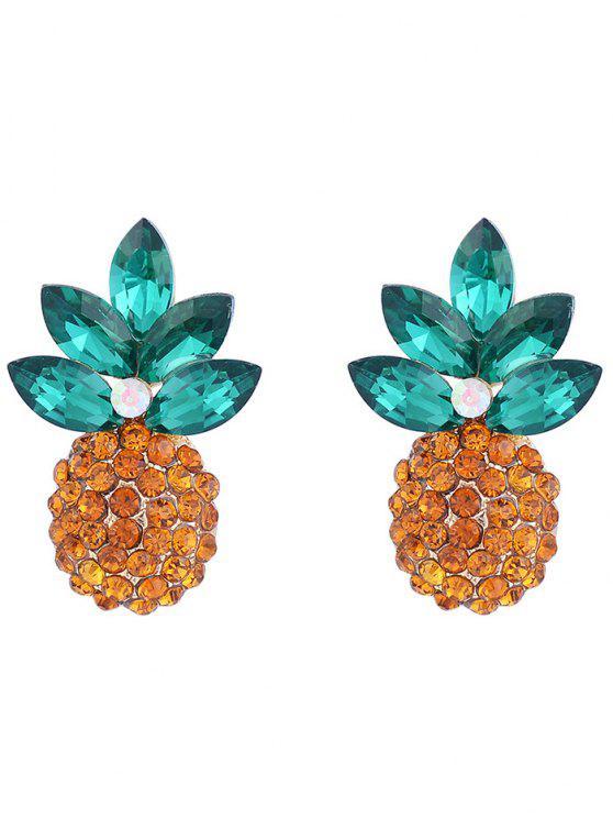 Pendientes de perlas de diseño de piña con incrustaciones de cristal de imitación - Dorado