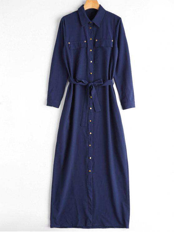 unique Belted Single Breasted Maxi Shirt Dress - BLUE S