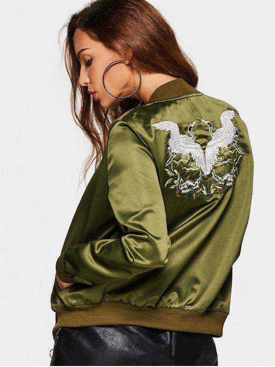 Bird Embroiderd Zip Up Souvenir Jacket - Exército verde S