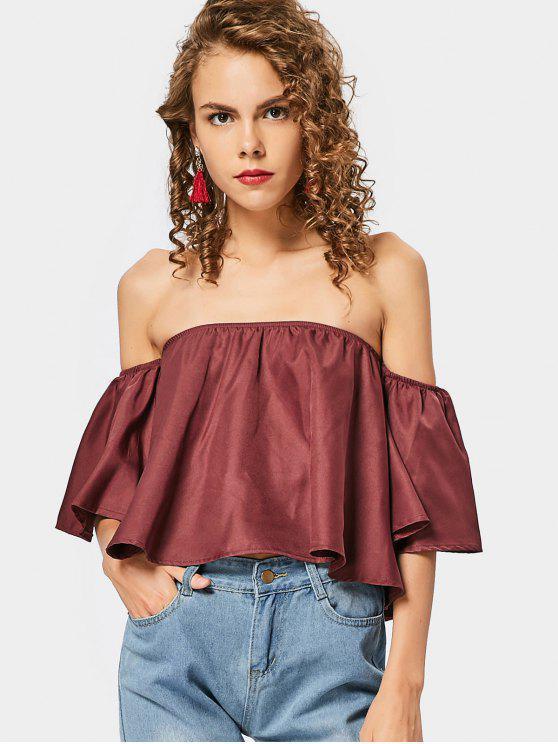 Manga de la llamarada de la blusa recortada hombro - Vino Rojo L