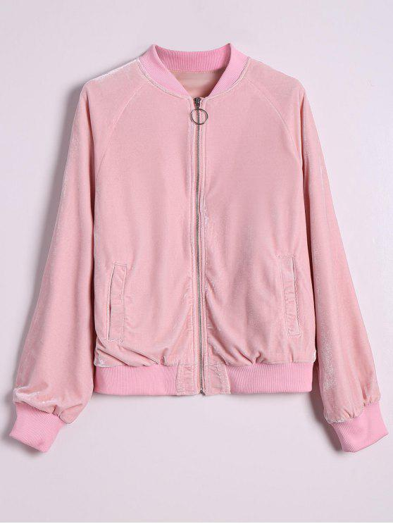 Velvet Zip Up Pilot Jacket - Rosa L
