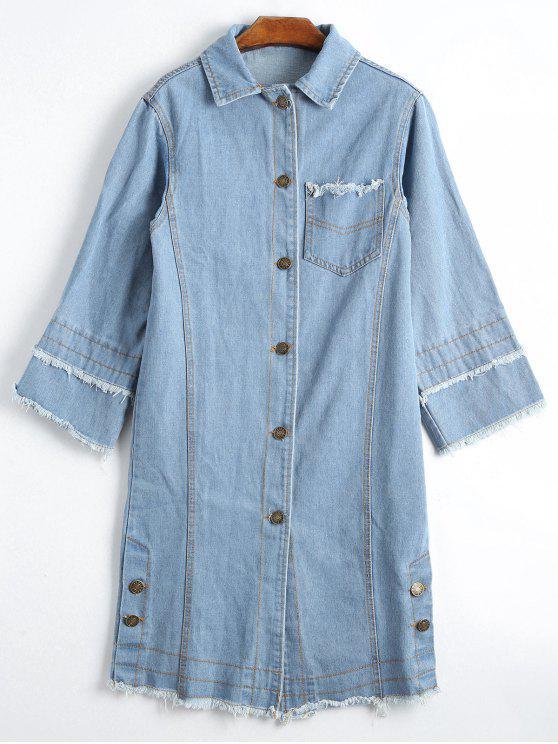 Blusa de denim com abotoaduras com botão para baixo - Charme XL