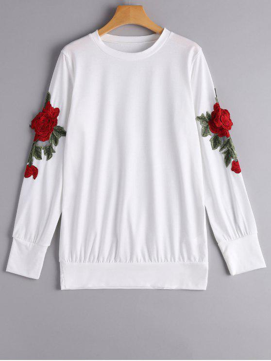 chic Loose Floral Embroidered Patches Sweatshirt - WHITE S