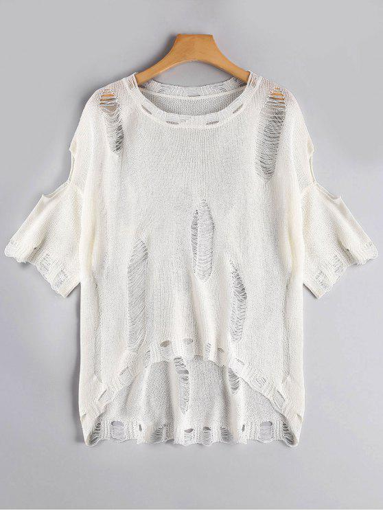 Camiseta tejida rasgada alta baja - Blanco Talla única