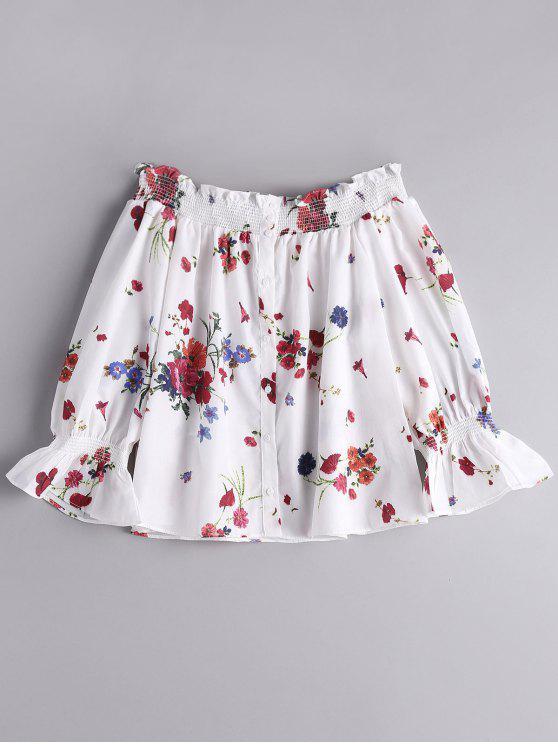 Blusa de Blusa de Blusa Floral - Blanco L