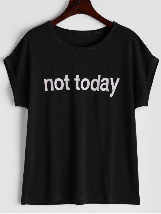 Camiseta redonda de la impresión de la letra del collar - Negro XL
