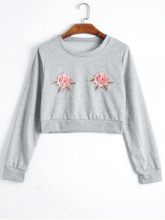 Remiendo floral cosechado sudadera - Gris XL