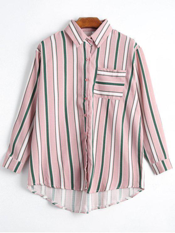 Botón encima de la camisa rayada del palangre del bolsillo - Rosado Talla única