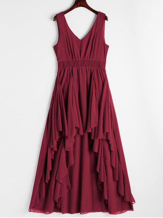 Plunging Neck Open Back Tiered Dress - Rouge Foncé XL