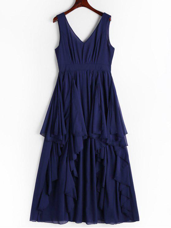 Geschichtetes Kleid mit tiefem Ausschnitt und Rückenfrei - Cerulean XL