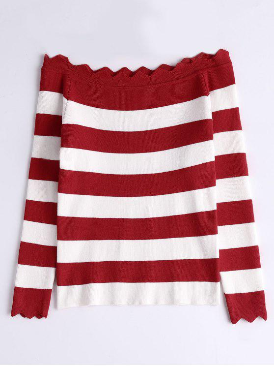 Off The Shoulder Zigzag Striped Knitted Top - Rojo Talla única