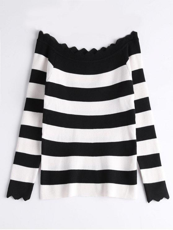 Off The Shoulder Zigzag Striped Knitted Top - Negro Talla única