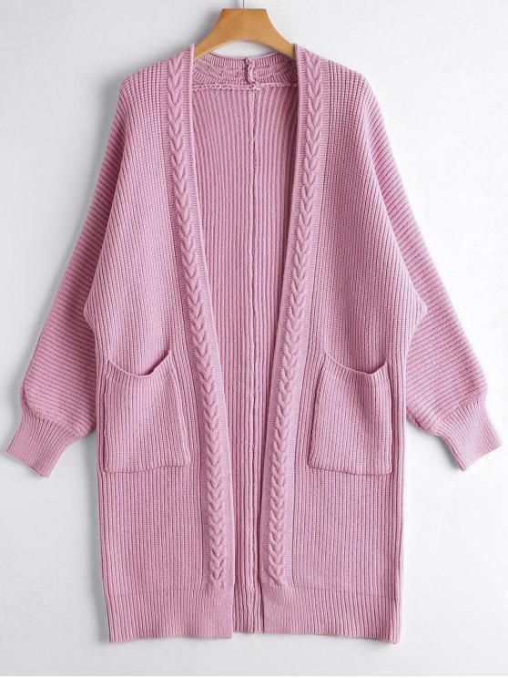 Cardigan Long Tressé avec Poches - Pourpre Rosé Taille Unique