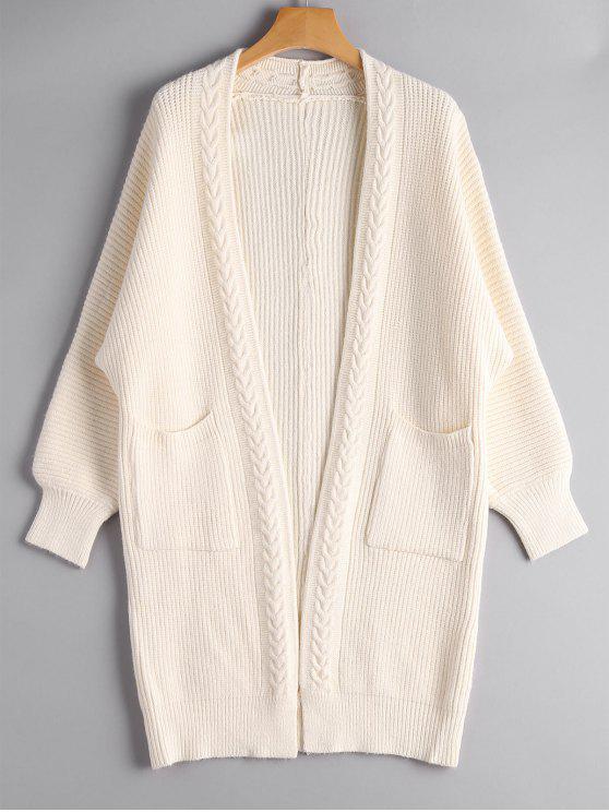Cardigan Long Tressé avec Poches - Blanc Cassé Taille Unique