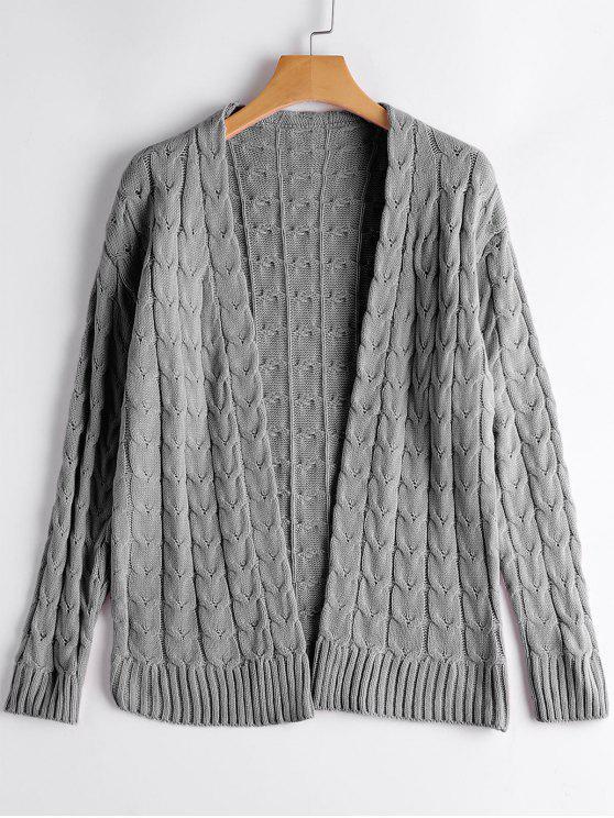 Cardigan Tressé Câble Épaules Dénudées - gris Taille Unique