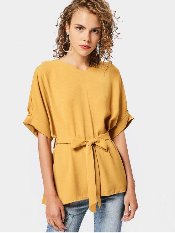 10b30a0b33 35% OFF  2019 Blusa De Cetim Com Decote Em V Com Amarelo Gengibre ...