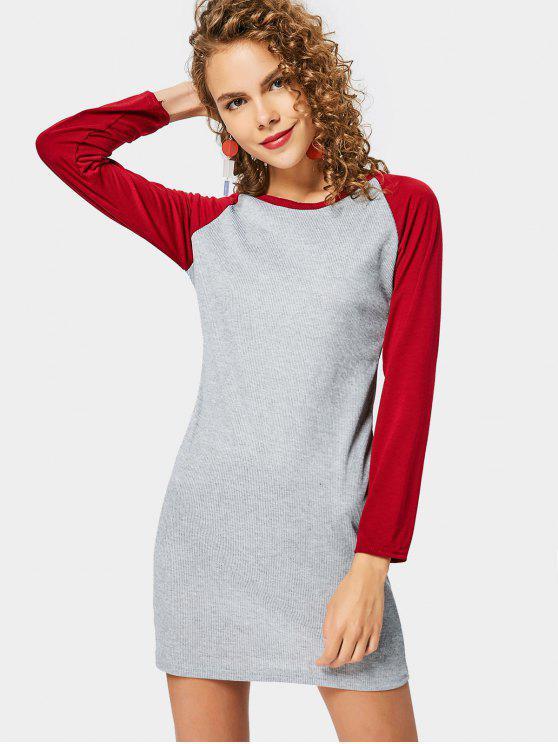 Vestito a maglia a coste con manica a righe - Rosso Scuro S