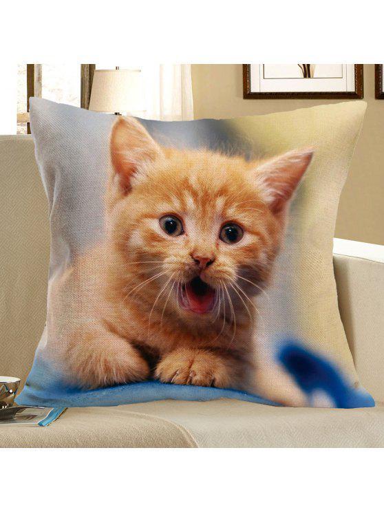 غطاء الوسادة كتاني طباعة بنمط القط - أصفر فاتح W18 بوصة * L18 بوصة