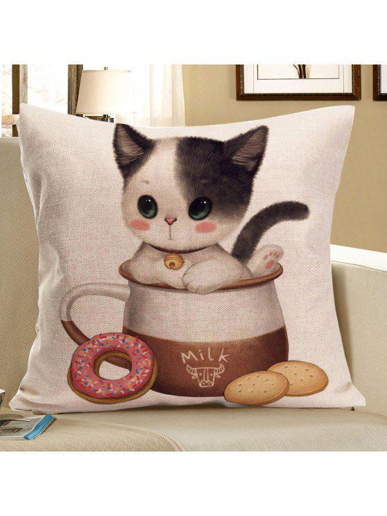 القط تتمتع الغذاء المطبوعة رمي سادة القضية - رمادي W18 بوصة * L18 بوصة