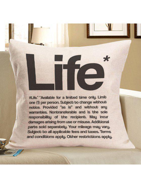 رسالة الحياة المطبوعة الكتان رمي سادة القضية - رمادي W18 بوصة * L18 بوصة