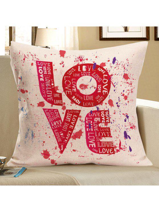 الحب التعادل صبغ مطبوعة الزخرفية وسادة القضية - أحمر W18 بوصة * L18 بوصة