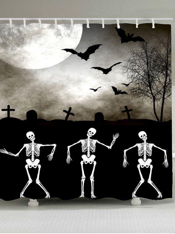 هالوين الخفافيش الهيكل العظمي طباعة ماء دش الستار - أسود W59 بوصة * L71 بوصة