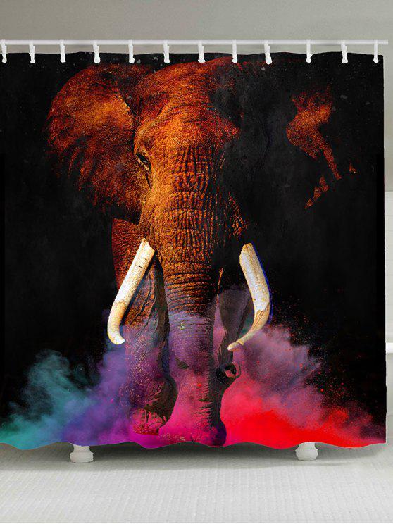 الملونة الضباب الدخاني الفيل مطبوعة ماء دش الستار - ملون W71 بوصة * L71 بوصة