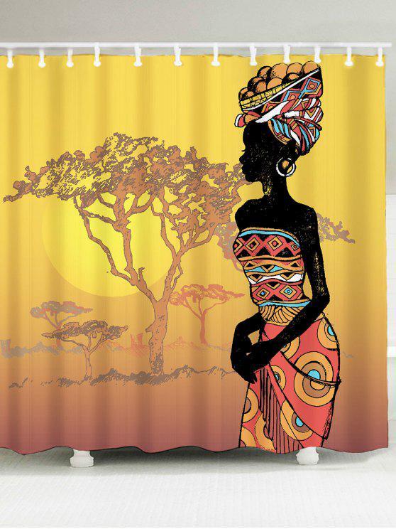 المرأة الأفريقية المطبوعة ماء دش الستار - مزيج ملون W79 بوصة * L71 بوصة
