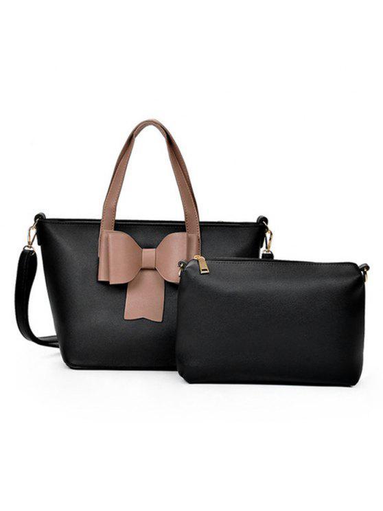 طقم حقيبة يد بتصميم بونوت من قطعتين - أسود