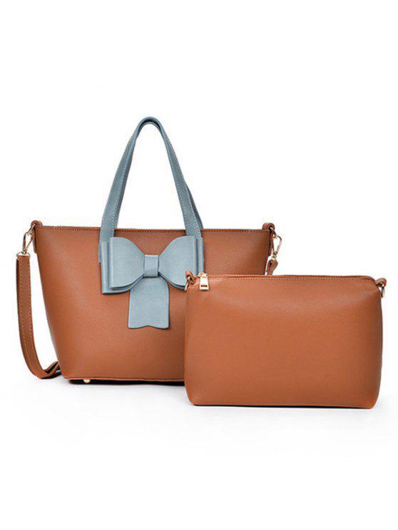 4c750427e1 2018 Bowknot Color Block 2 Pieces Handbag Set In BROWN