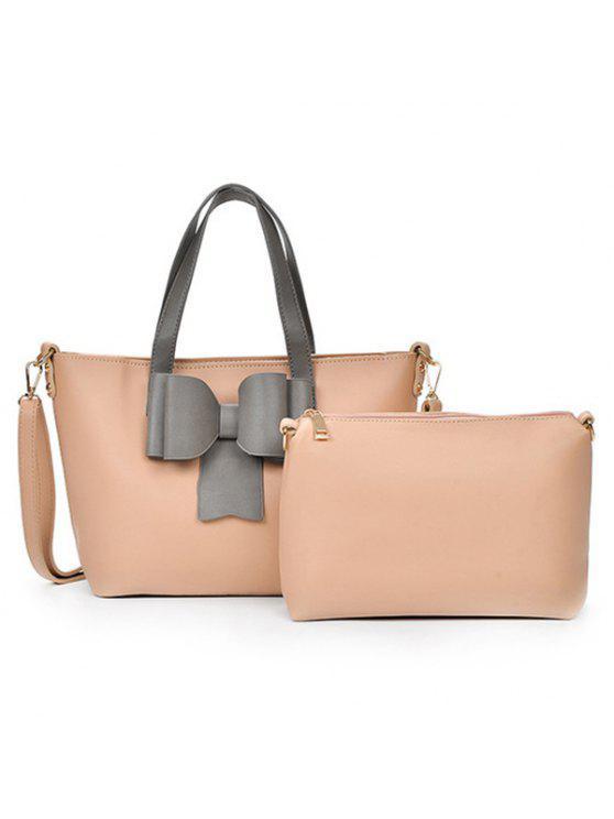 طقم حقيبة يد بتصميم بونوت من قطعتين - مصفر الوردي