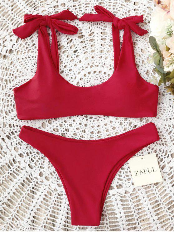 Scoop Tie Shoulder Padded Bathing Suit - Red M