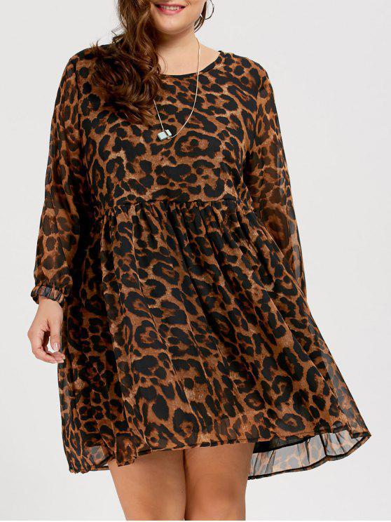 3c6bc066ad0f 35% OFF] 2019 Chiffon Plus Size Long Sleeve Leopard Printed Smock ...