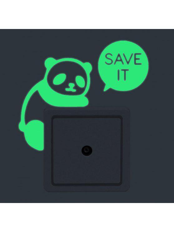 الباندا شكل مضيئة دي التبديل ملصقات الحائط - أخضر