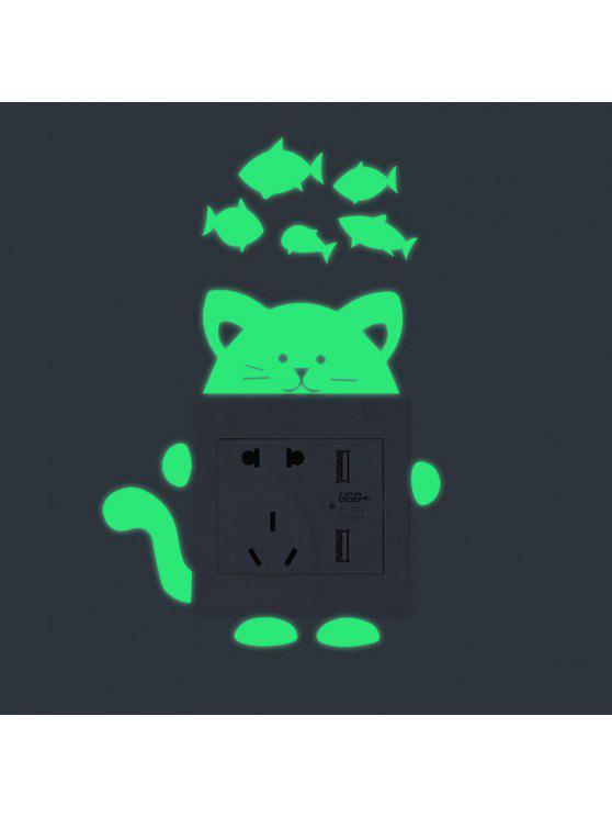 الكرتون القط شكل مضيئة دي التبديل ملصقات الحائط - أخضر