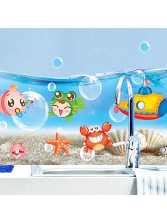 الكرتون العالم البحر الحيوان الجدار ملصق - أزرق
