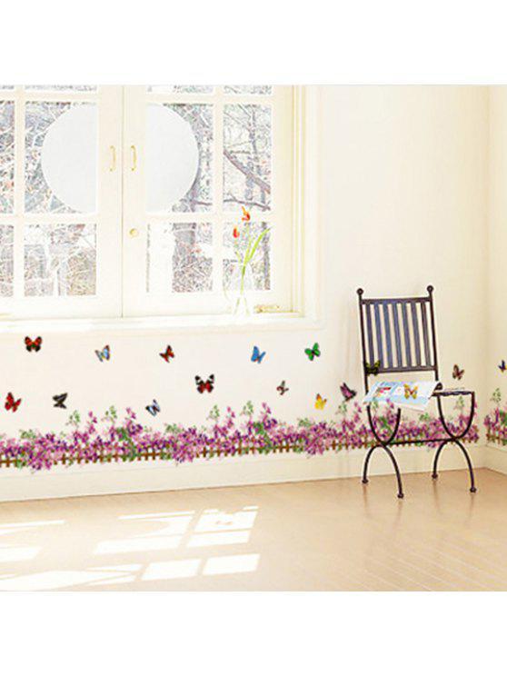 زهرة فراشة سياج ديكور الجدار ملصق - أحمر أرجوانى