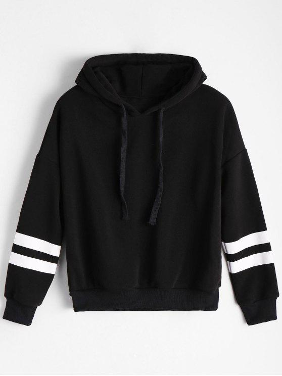 latest Drop Shoulder Striped Drawstring Hoodie - BLACK ONE SIZE