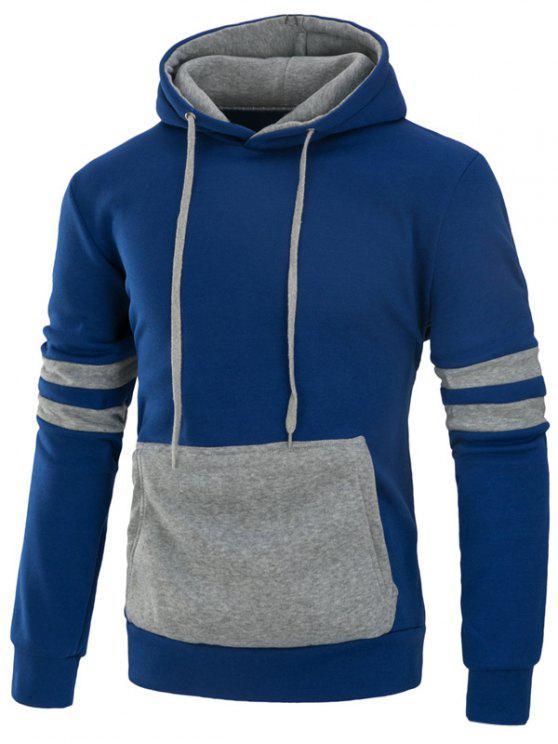 اللون كتلة لوحة اسكواش شريط الصوف هوديي - أزرق M