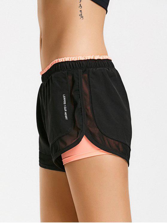 Shorts de corrida de camada dupla de malha - Rosa de Laranja  XL