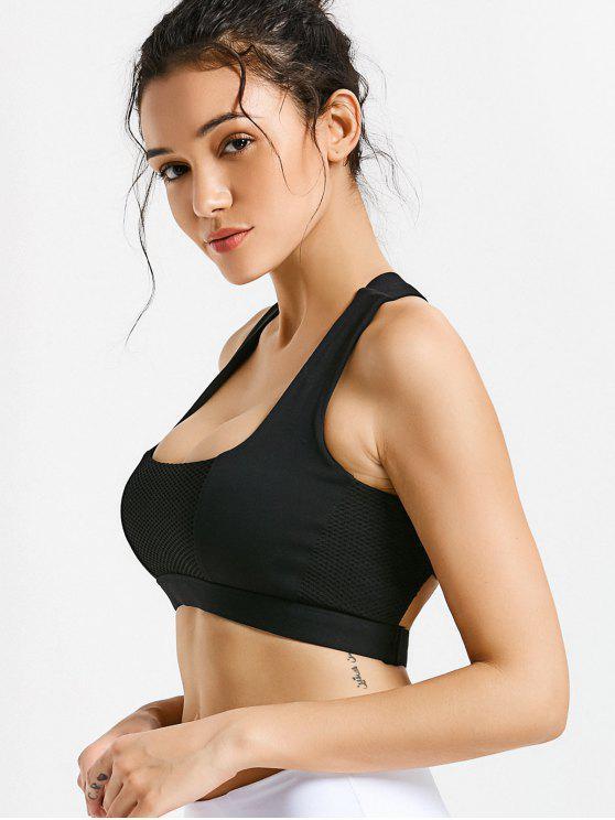 lady Mesh Panel Crisscross Cutout Sports Bra - BLACK L
