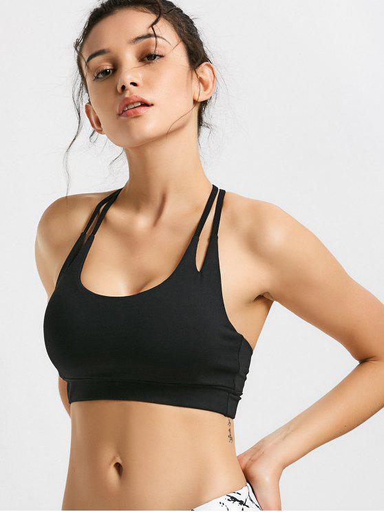 womens Quick Dry Strappy Sports Bra - BLACK S