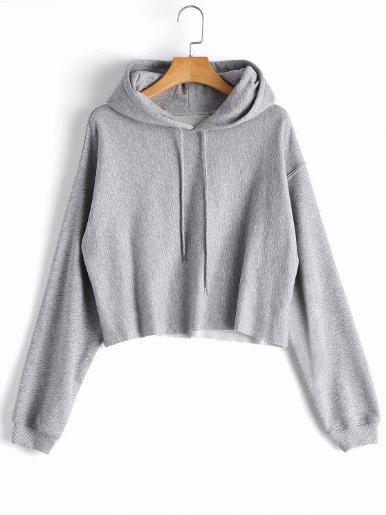 Crop Pullover Hoodie mit Tropfen-Schulter - Grau L
