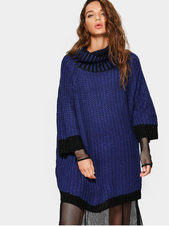 ec51507a468 32% OFF  2019 Overisized Turtleneck Cable Knit Sweater In DEEP BLUE ...